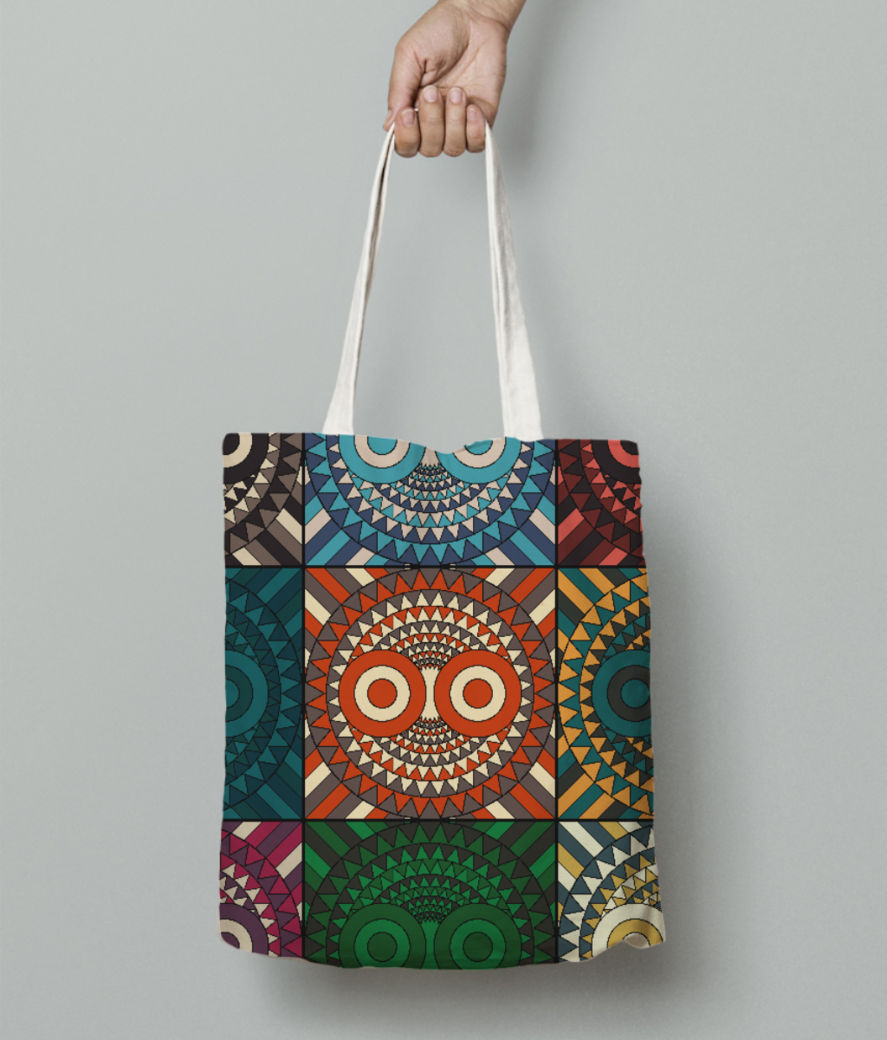 Polychrome owl mask tote bag front