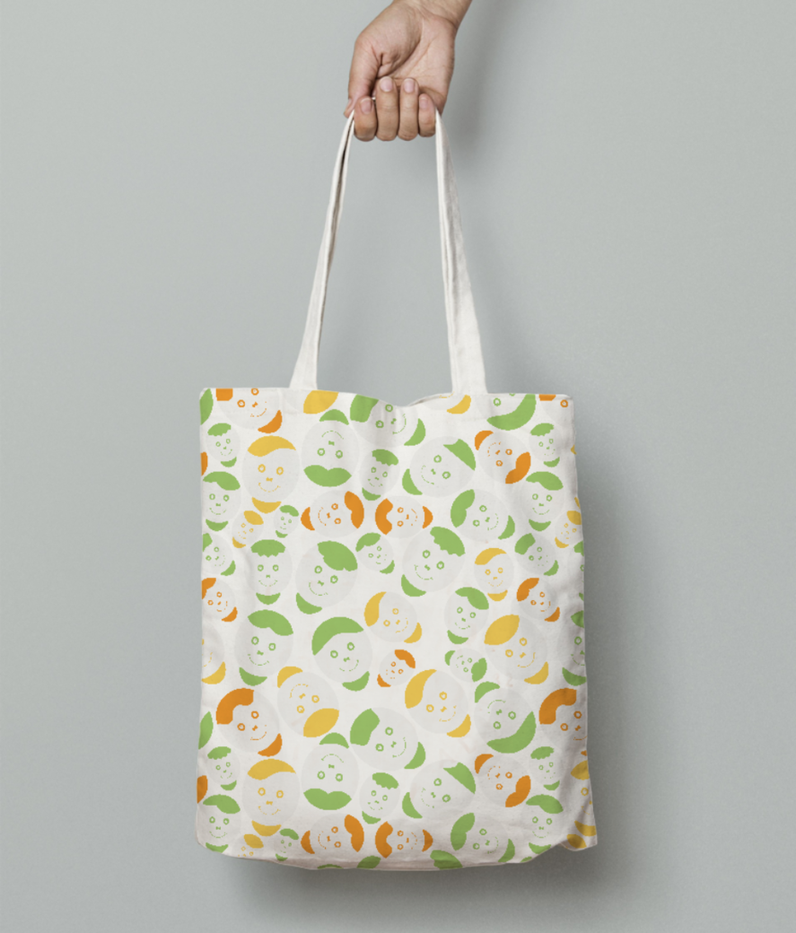 Green smiley faces tote bag front