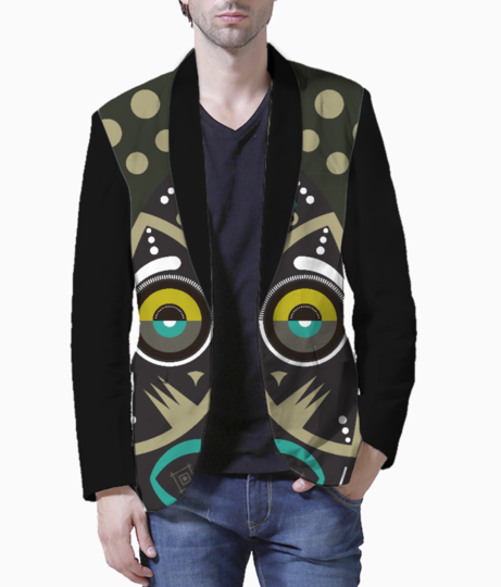 Gray pop up tribal mask blazer front