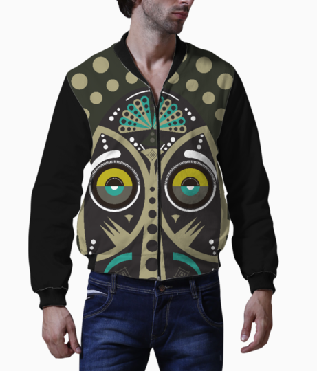 Gray pop up tribal mask bomber front