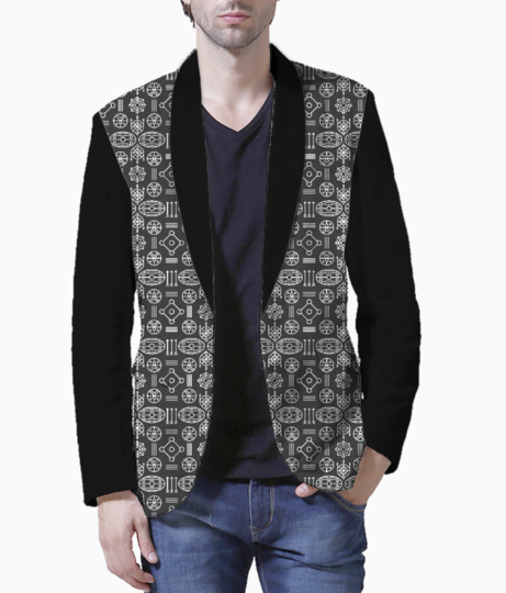 Aztec black and white blazer front