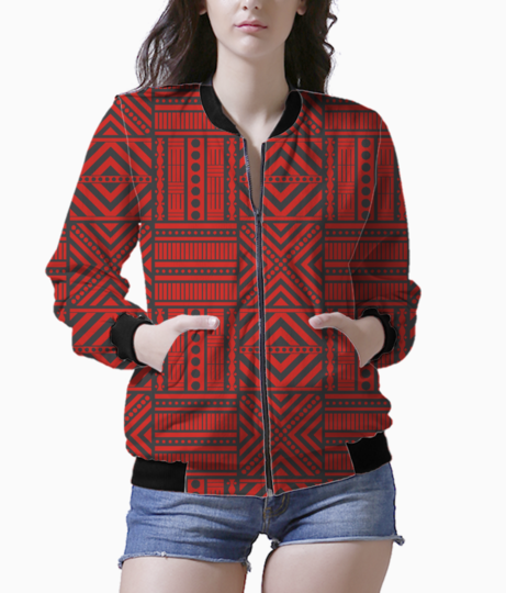 Red boho chic style bomber front