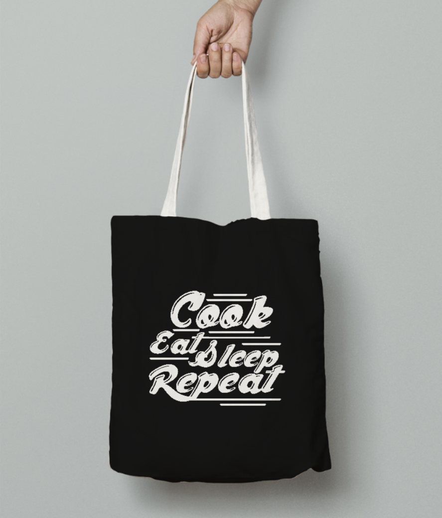 Cook eat sleep tote bag front