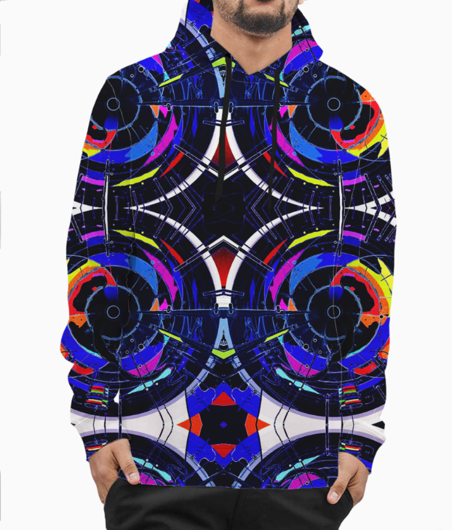Abstract hybrid hoodie front