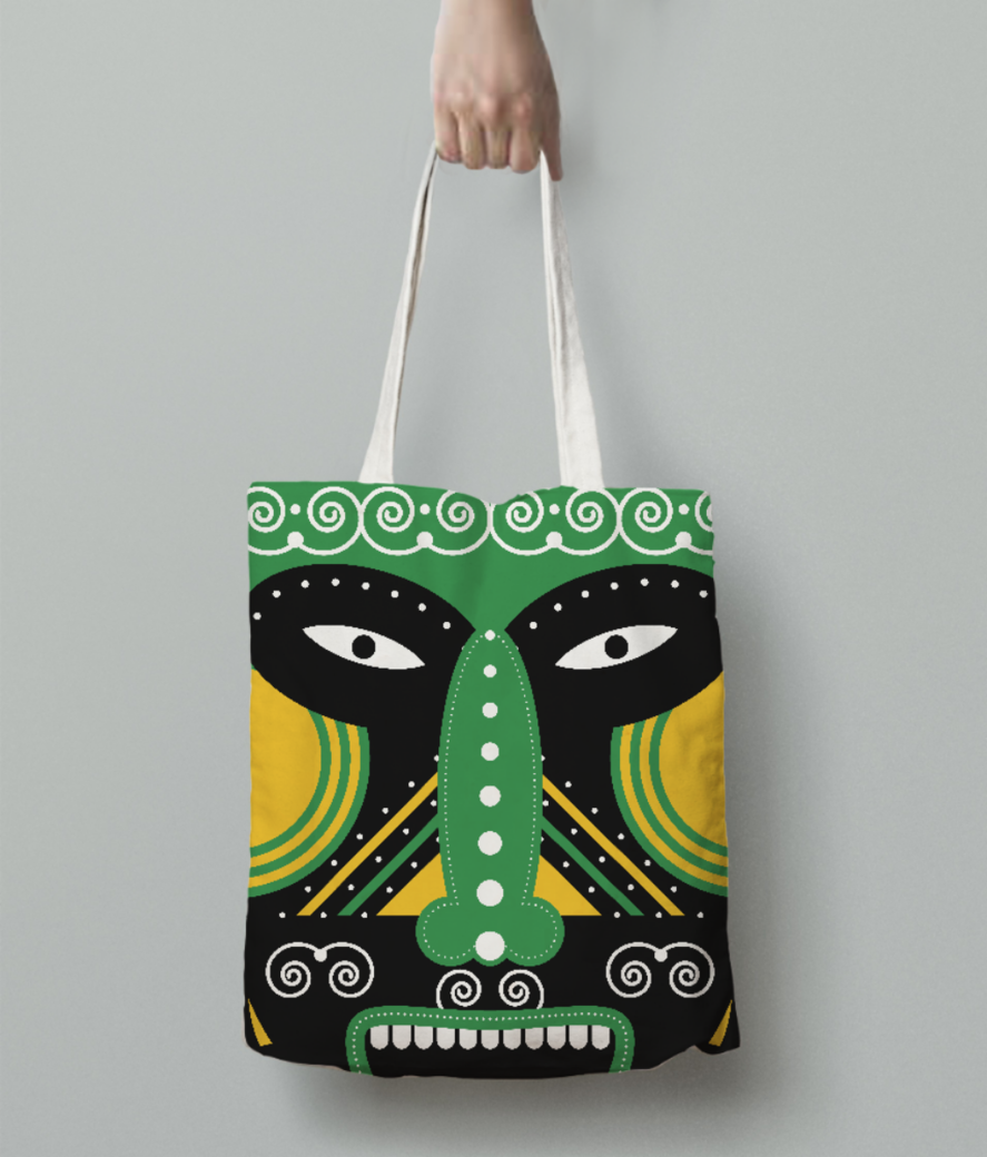 Ritual mask tote bag back