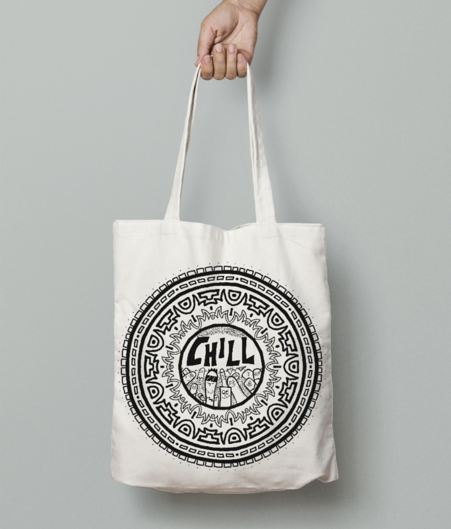 Chill black tote bag front