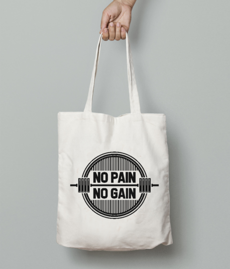 No pain gain tote bag front