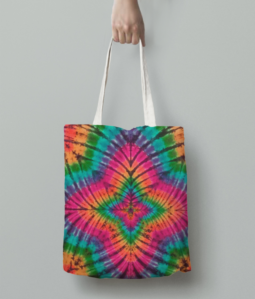Tie and dye tote bag back