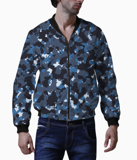 Abstract blue camo bomber front