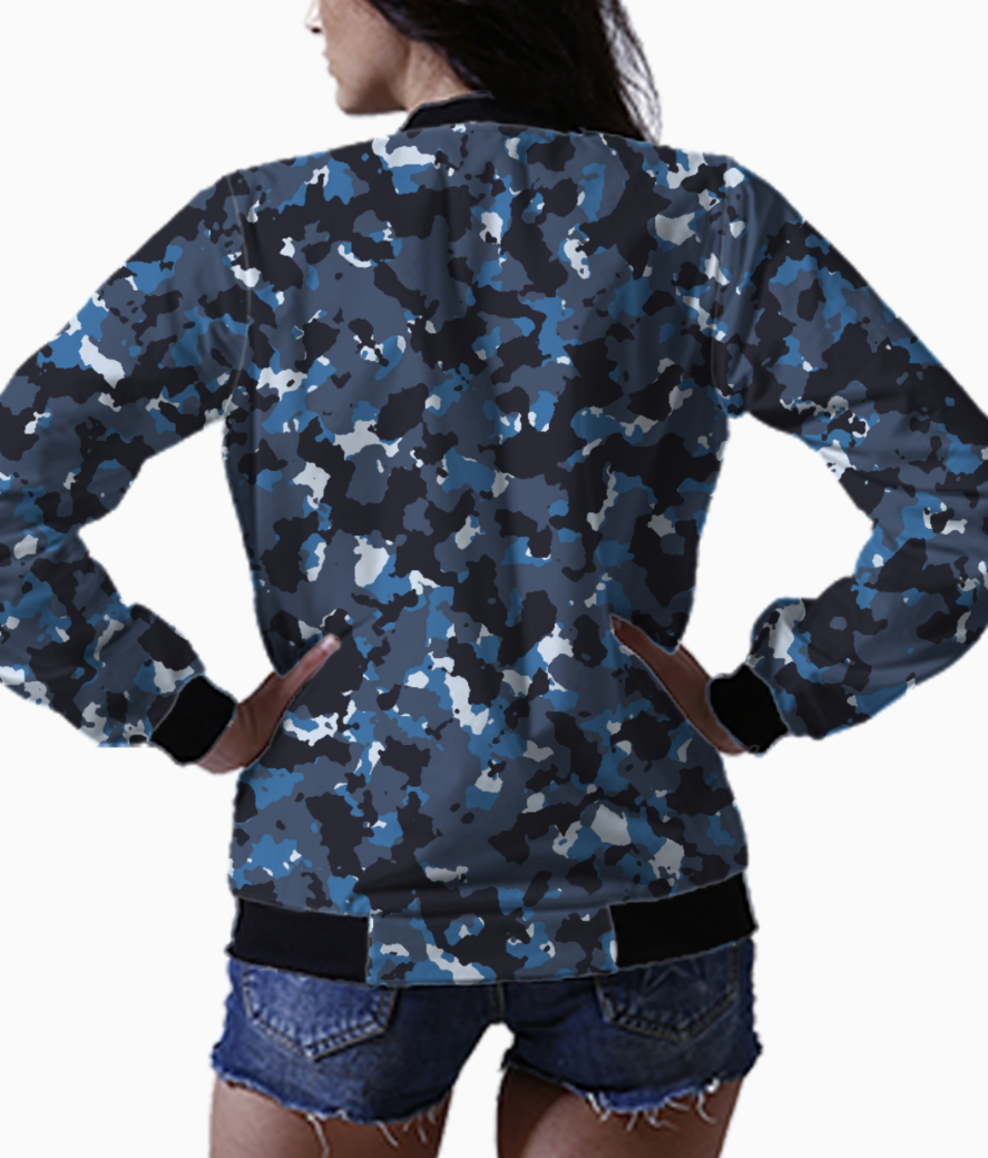 Abstract blue camo bomber back