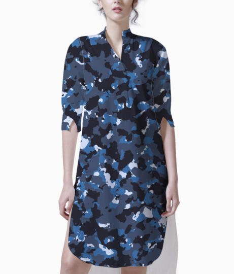 Abstract blue camo kurti front