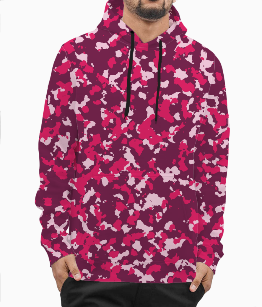 Abstract pink camo hoodie front