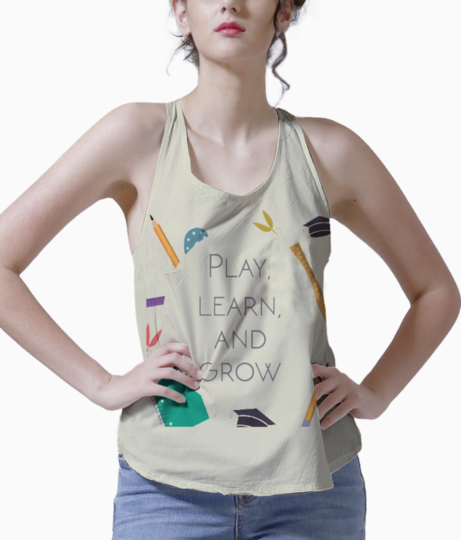 Play  learn   grow kurta tank front