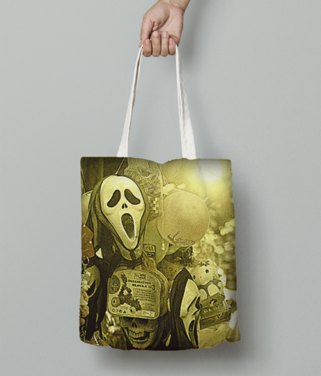 The masks in the melas tote bag front