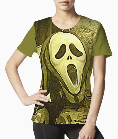 The masks in the melas tee front