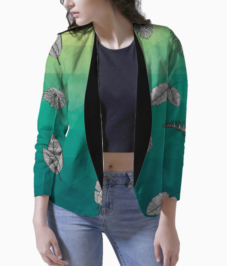 Tropical greens blazer front