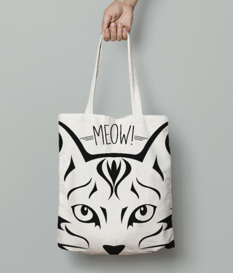Meow cat tote bag front