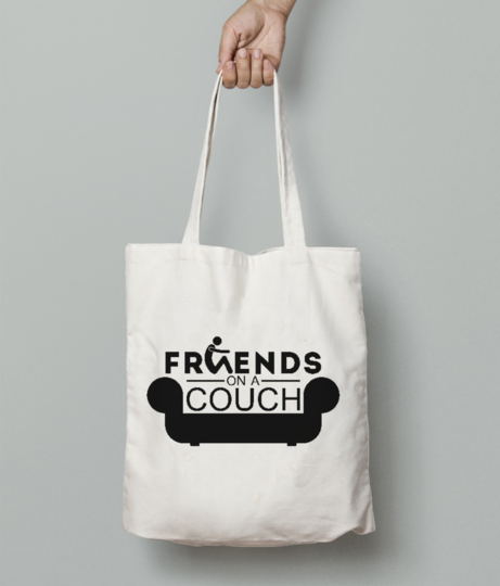 Friends couch tote bag front