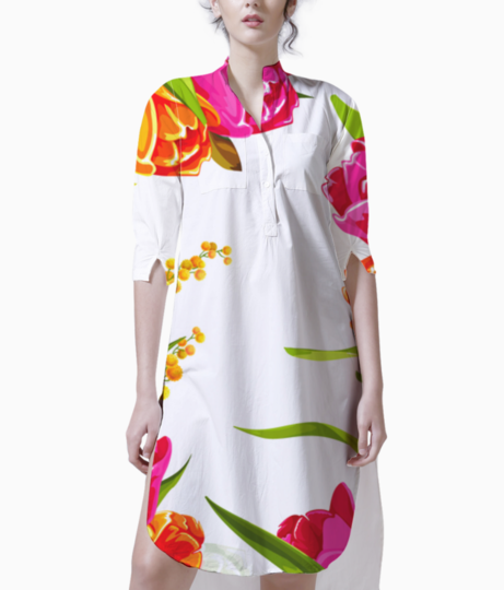 Colored beautiful flowers design graphics kurti front