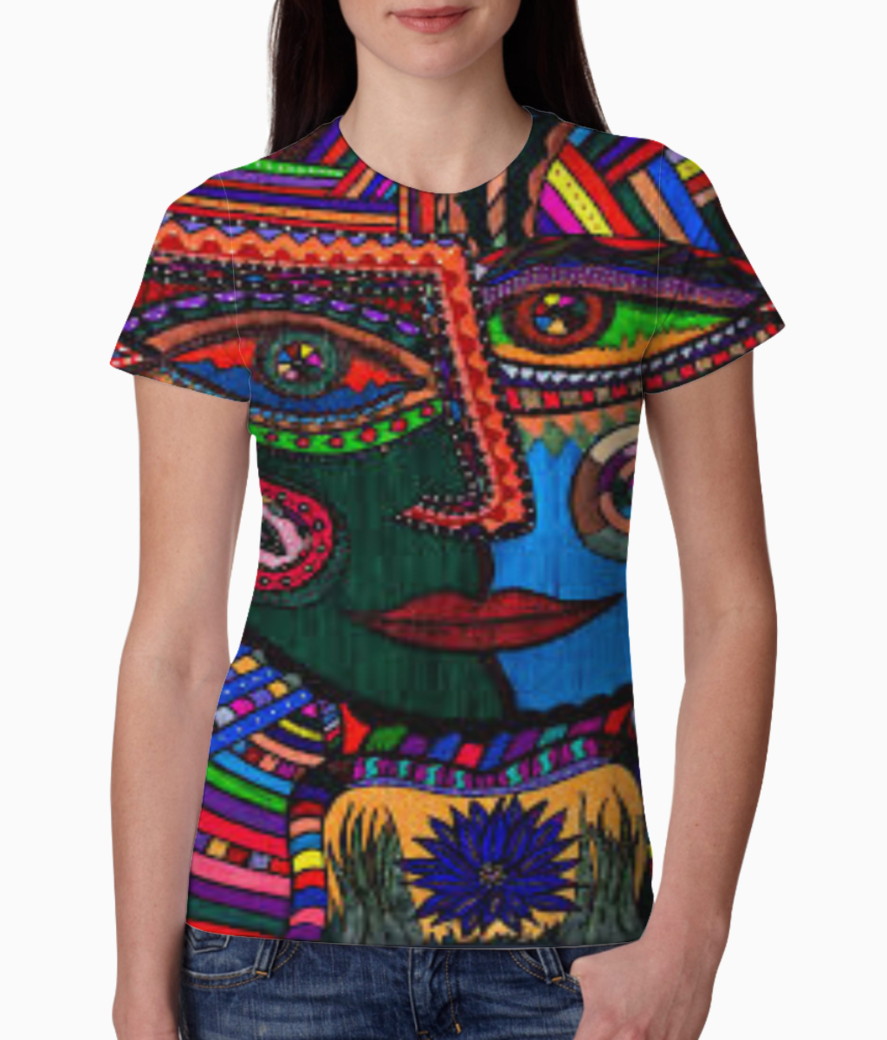 Colorful face abstract tee front