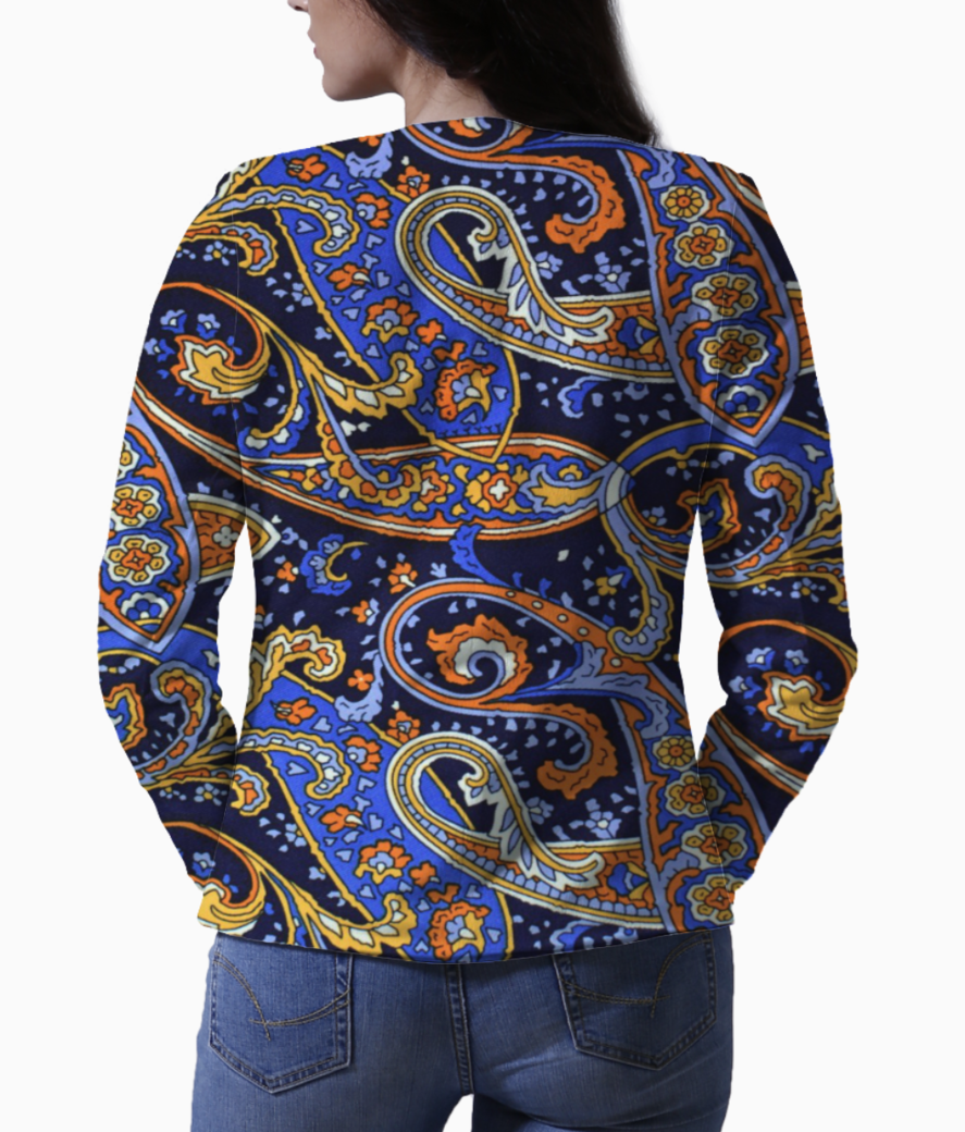 Pattern blue orange motifs blazer back
