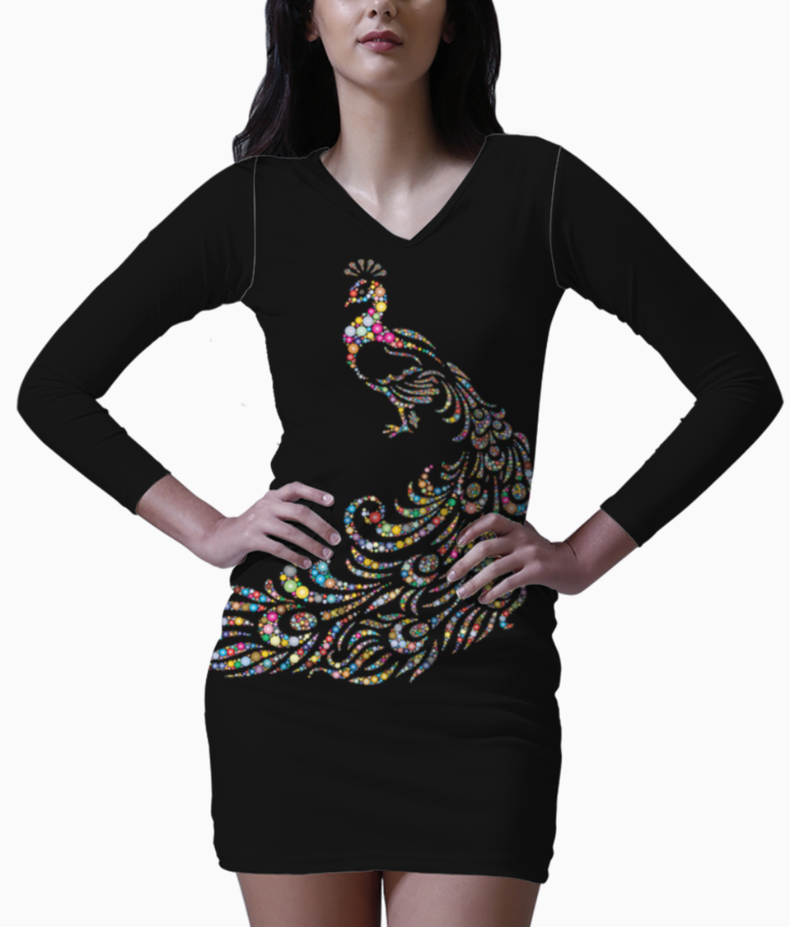 Abstract peacock bodycon dress front