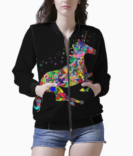 Colorful unicorn bomber front