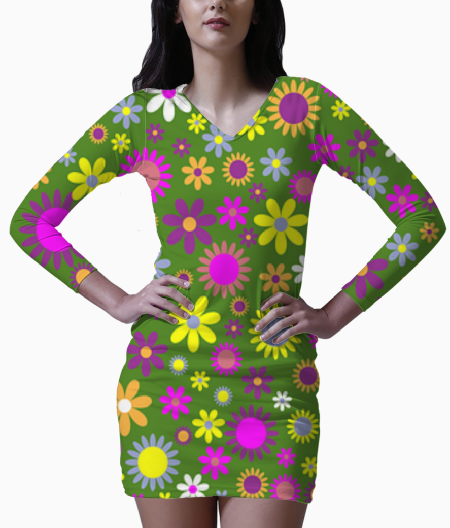 Floral pattern green bodycon dress front
