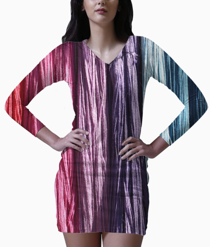 Colorful threads bodycon dress front