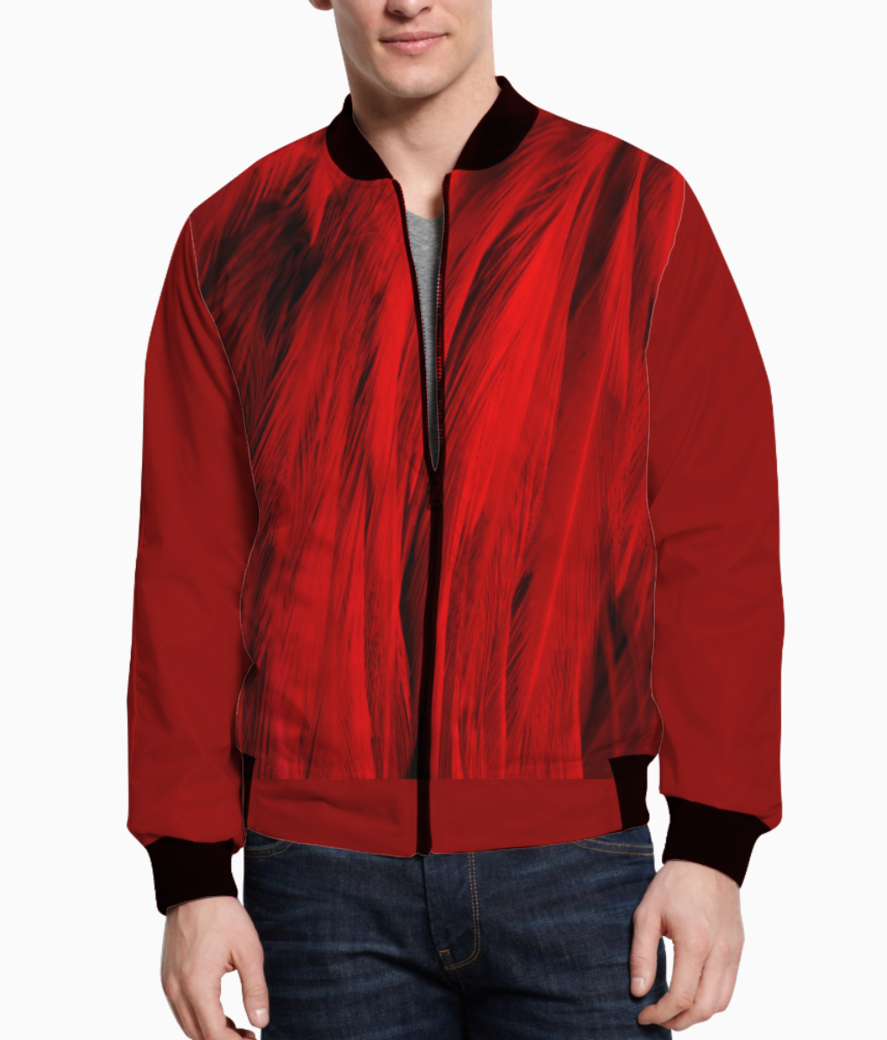 Feathers red bomber front