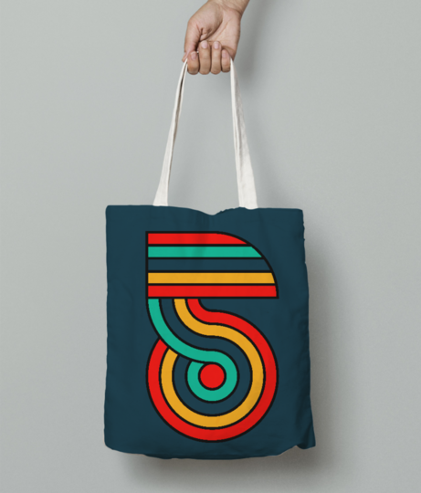 Five typography tote bag front