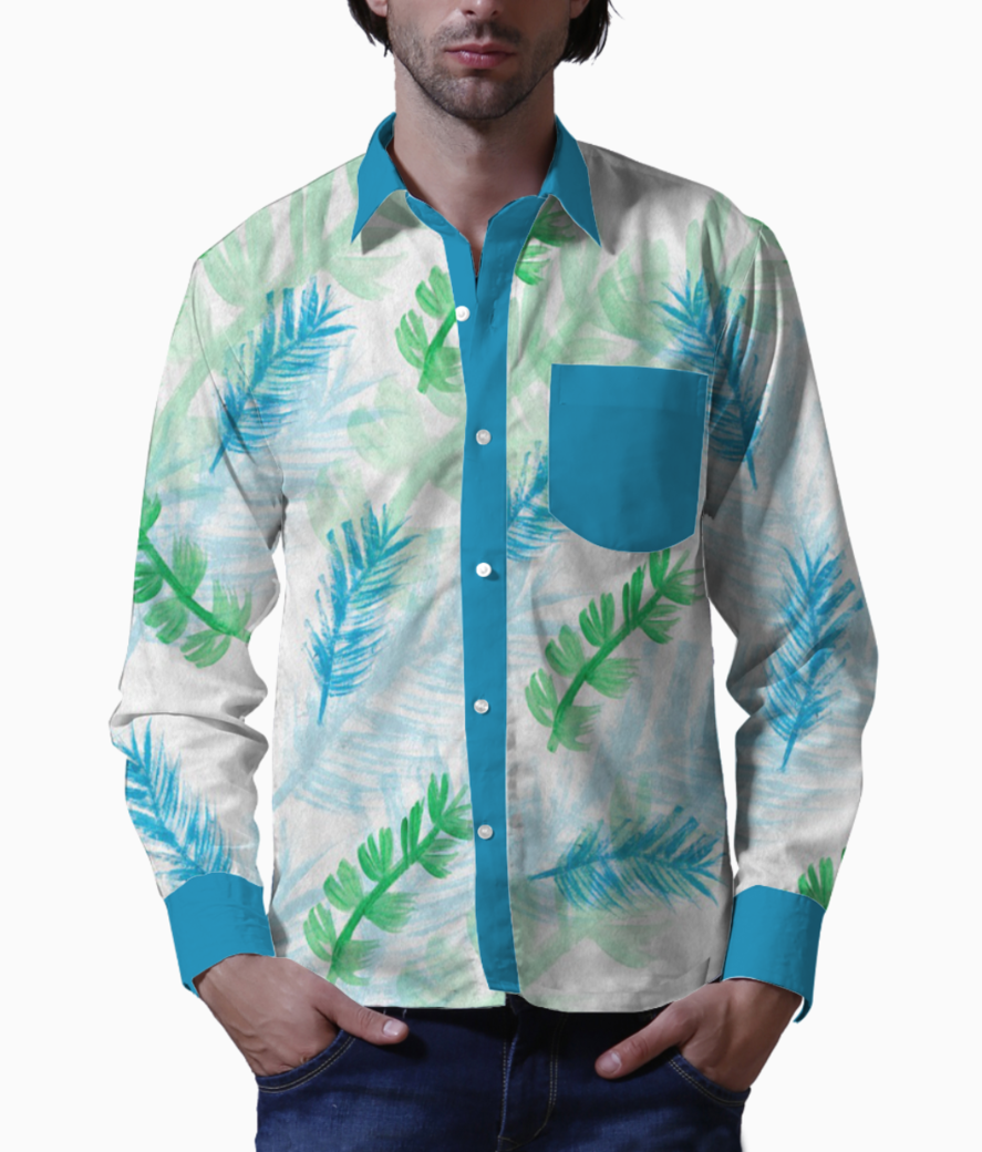 Background blue and green feathers basic shirt front