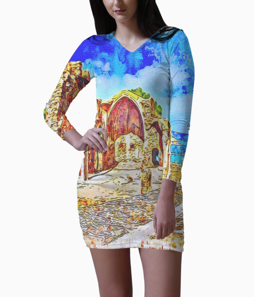 Medieval chapel bodycon dress front