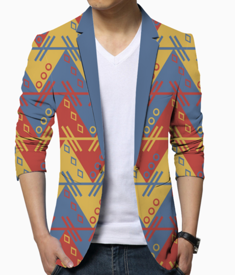 Aztec blue red pattern blazer front
