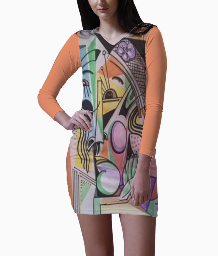 Abstract figures bodycon dress front