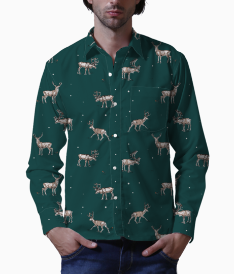Conversational festive christmas reindeer stag country festive 01 basic shirt front