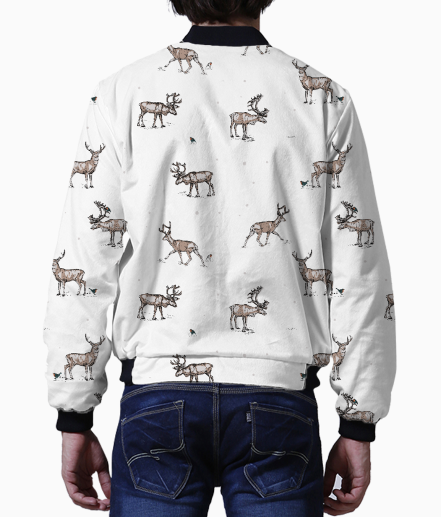 Conversational festive christmas reindeer stag country festive 01 bomber back
