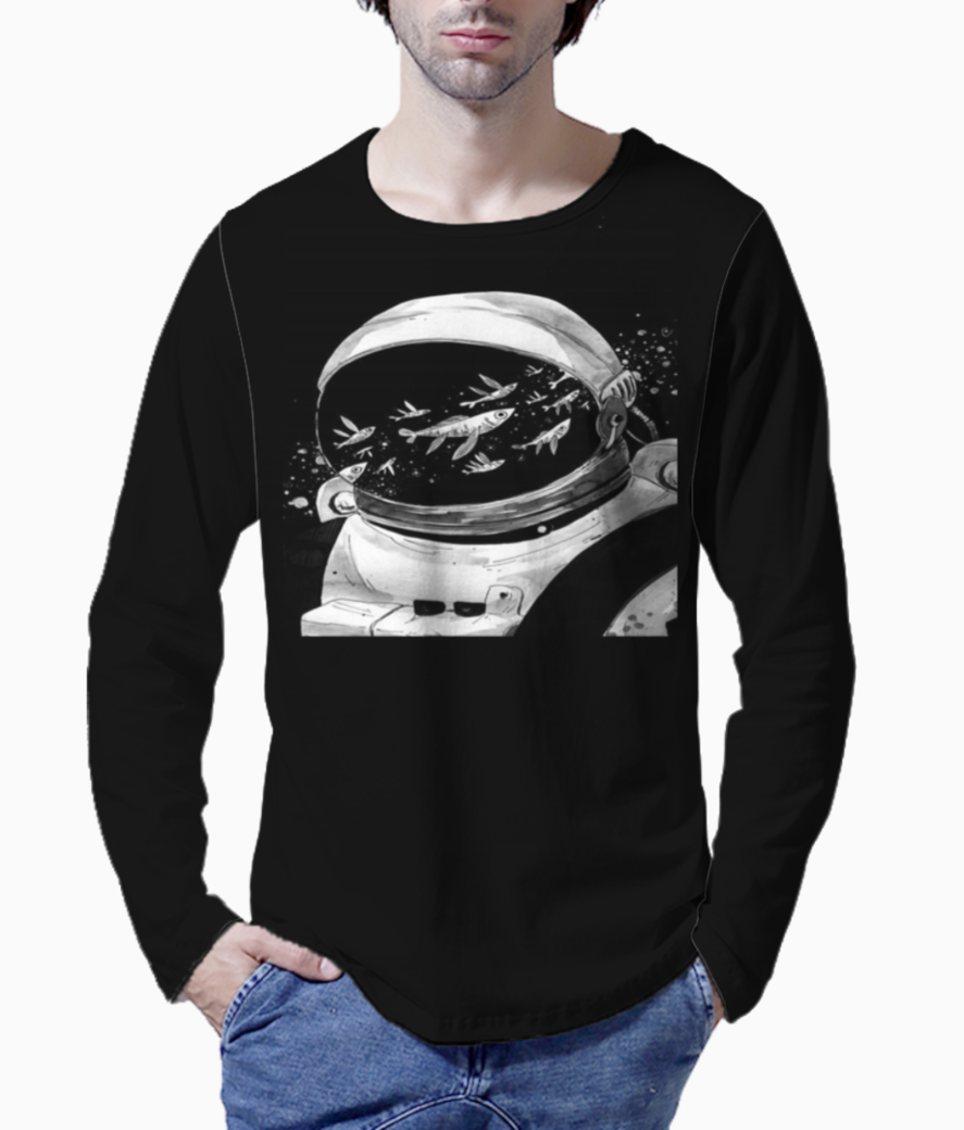 Astronaut and galactic fishes henley front
