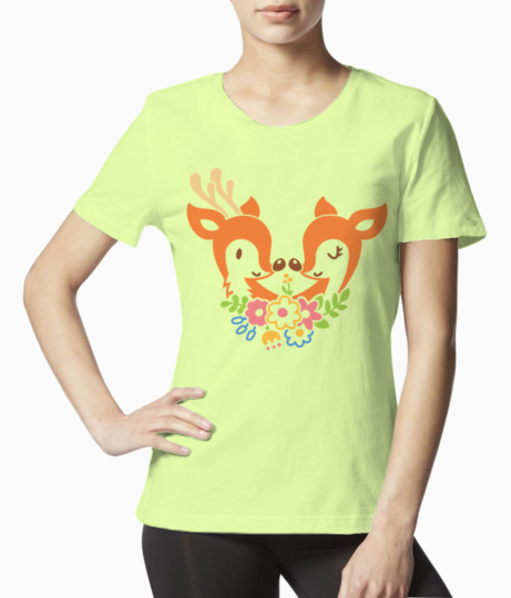 Reindeers in love tee front