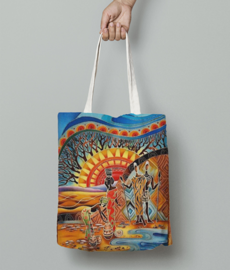 African women filling water tote bag front