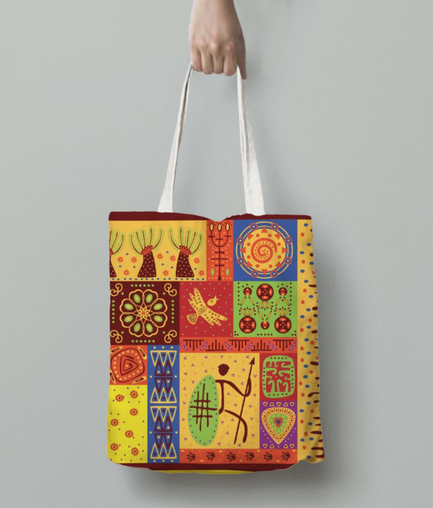 Tribal pattern tote bag back