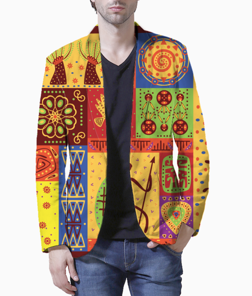 Tribal pattern blazer front