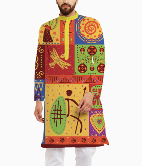 Tribal pattern kurta front