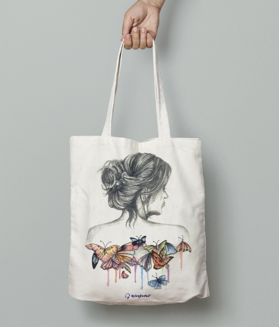 Mi note5 pro butterfly tote bag front