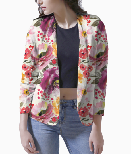 Rrrrrrfall floral pattern saturated shop preview blazer front