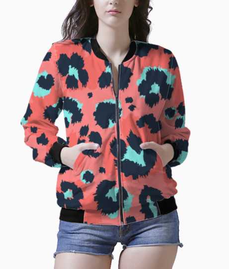 Leopard pattern design funny drawing seamless pattern 10083 653 bomber front