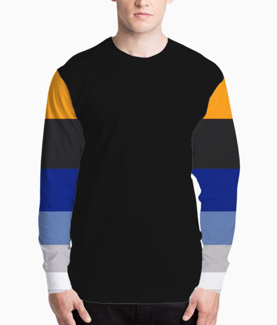 Complementary blue yellow colorful geometric pattern colour block stripes prints henley front