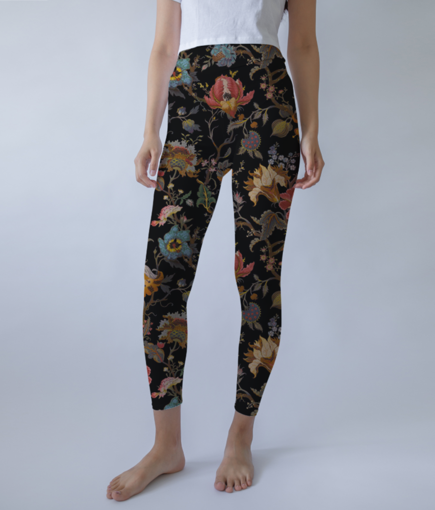 Brown floral leggings front