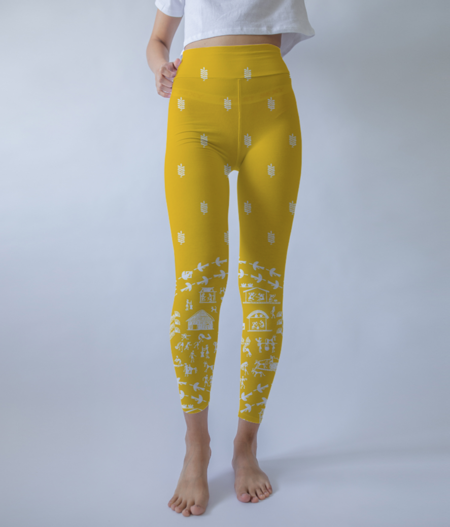 Yellow tribe leggings front