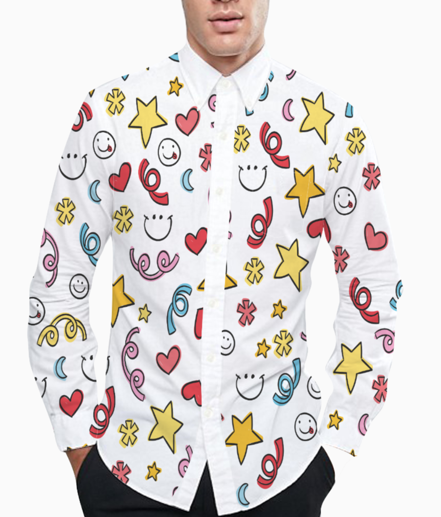 Smile stars pattern basic shirt front